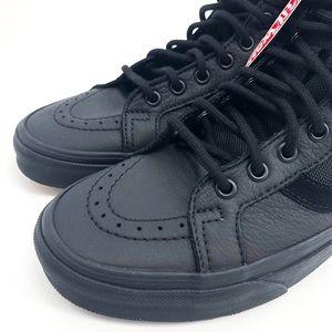 71d82978 VANS Mens Leather Sk8-Hi Reissue Strap Black NWT